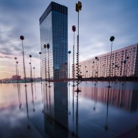 Bassin de Takis, La Défense, at sunrise. Long Exposure. Partially Cloudy.